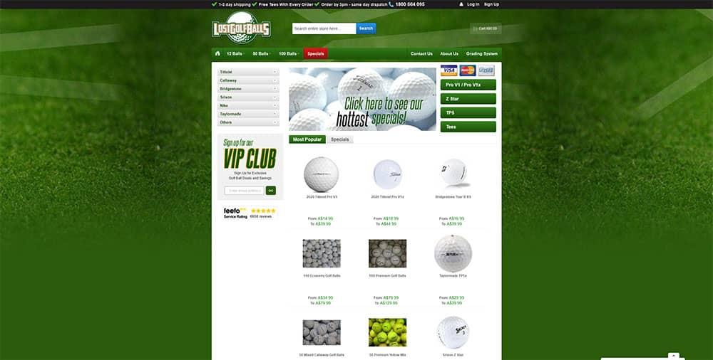 golf web design example