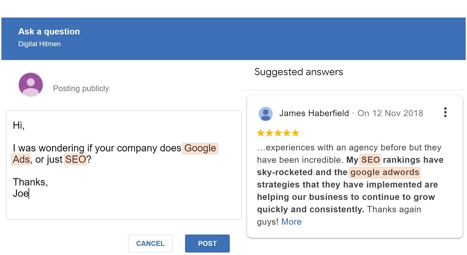 A Google My Business customer asks a direction question to the business owner