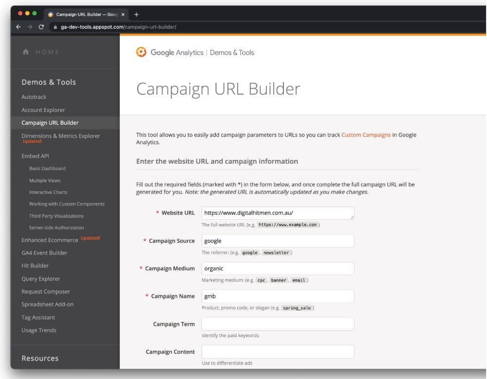 Google's campaign URL builder allows you to track traffic by using UTM codes.
