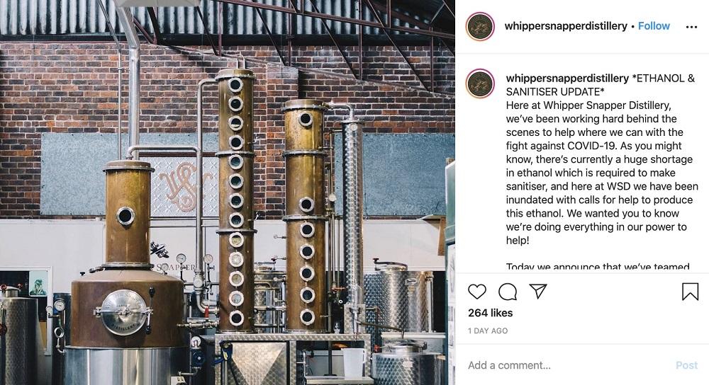 Whipper Snapper Distillery are producing ethanol to help make hand sanitiser